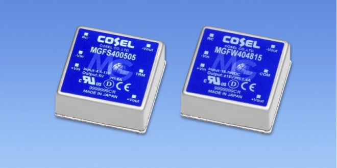 COSEL's very high reliability 40W DC/DC converter for demanding applications offers 10 year warranty